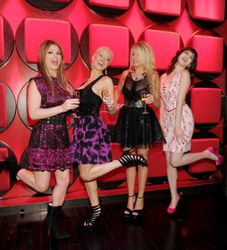 Laura Croft, Holly Madison, Angel Porrino and Claire Sinclair at the Holly's World Season 2 premiere screening party at Planet Hollywood on Jan. 23, 2011.