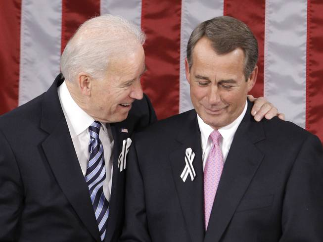 Vice President Joe Biden talks with House Speaker John Boehner of Ohio on Capitol Hill in Washington, Tuesday, Jan. 25, 2011, prior to the start of President Barack Obama's State of the Union address.
