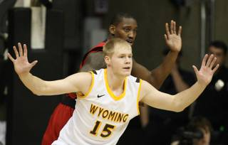 Wyoming center Adam Waddell tries to get open down low against UNLV in Tuesday's game at the Arena-Auditorium in Laramie, Wyo.