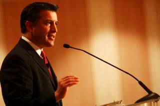 Gov. Brian Sandoval addresses the Las Vegas Chamber of Commerce at a luncheon at the Four Seasons Hotel in Las Vegas on Wednesday, Jan. 26, 2011.