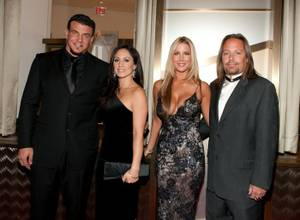 Frank Mir, Jennifer Mir, Alicia Jacobs and Vince Neil at the Cartier VIP reception at MGM CityCenter's Crystals for Nevada Ballet Theatre's 27th Annual Black and White Ball on Jan. 29, 2011. Priscilla Presley was honored as NBT's Woman of the Year.