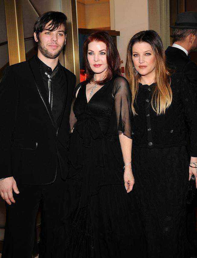 Navarone Garibaldi, Priscilla Presley and Lisa Marie Presley at the Cartier VIP reception at MGM CityCenter's Crystals for Nevada Ballet Theatre's 27th Annual Black and White Ball on Jan. 29, 2011. Priscilla Presley was honored as NBT's Woman of the Year.