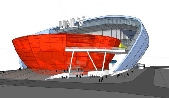 This is a conceptual rendering of a proposed on-campus, multi-use stadium for UNLV shown Tuesday, February 1, 2011.