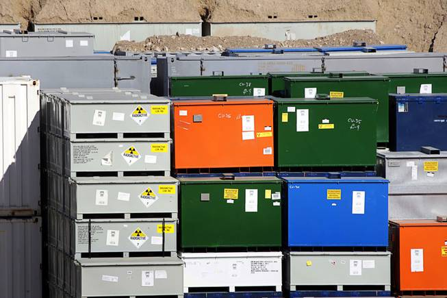 Containers are stacked in a low-level radiation waste cell in the Area 5 Radioactive Waste Management Site of the Nevada National Security Site (N2S2), previously the Nevada Test Site, about 65 miles northwest of Las Vegas on Feb. 1, 2011.