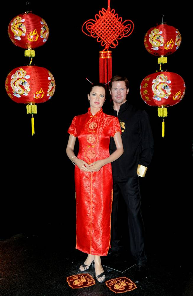 The Angelina Jolie and Brad Pitt wax figures at Madame Tussauds Las Vegas.