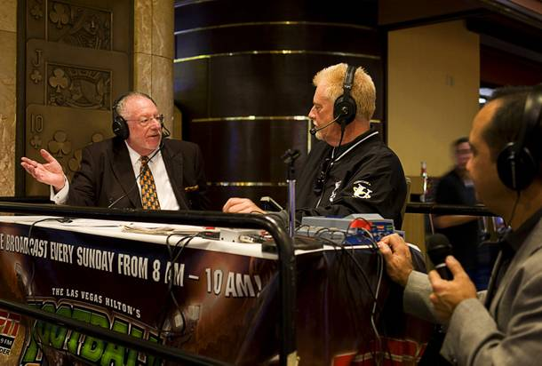 Las Vegas Mayor Oscar Goodman discusses Super Bowl proposition bets with radio host Brian Blessing during a radio show at the Las Vegas Hilton race and sports book Thursday, Feb. 3, 2011.
