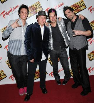 Recycled Percussion on their red carpet at the Tropicana on Feb. 8, 2011.