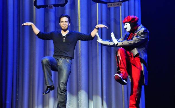 Apolo Ohno and Jabbawockeez at the Monte Carlo on Feb. 7, 2011.