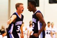 Malcolm Allen (right) and Dallin Layton are fired up after Allen hit a three against Palo Verde during their game Tuesday, February 9, 2011 at Palo Verde High School. Centennial won the game 74-57.