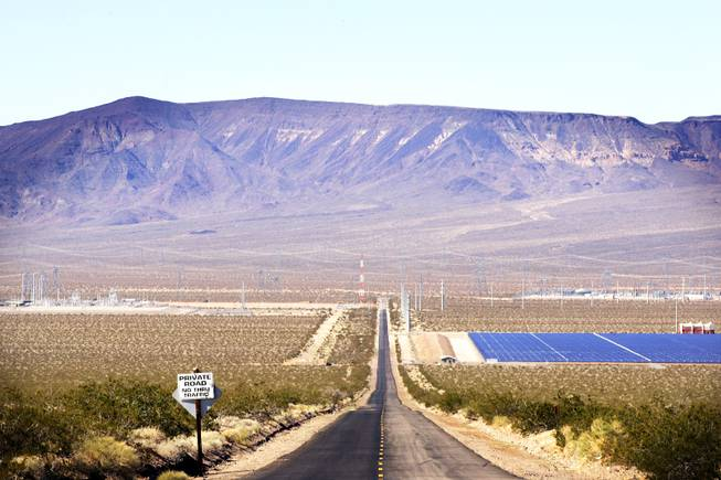 Copper Mountain Solar One and Eldorado Solar are seen on the left and Nevada Solar One on the right of Eldorado Valley Road off U.S. 95 in Boulder City on Thursday, Feb. 10, 2011.