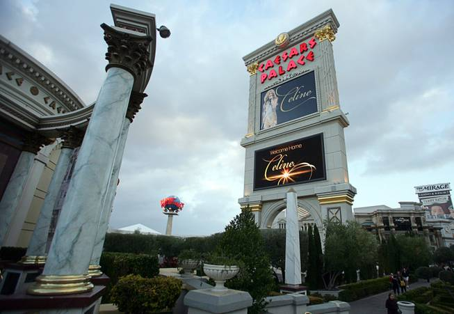 The marquee sign at Caesars Palace displays a welcome to Celine Dion in Las Vegas on Feb. 16, 2011. The singer begins a new series of shows at The Colosseum on March 15.