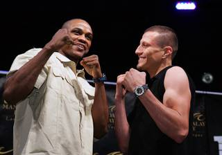 Welterweight boxers Mike Jones, left, of Philadelphia and Jesus Soto-Karass of Mexico pose during a news conference at the Mandalay Bay Thursday, February 17, 2011. The boxers meet for a rematch at the Mandalay Bay Events Center Saturday.