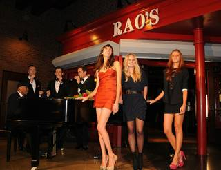 2011 Sports Illustrated swimsuit models Genevieve Morton, Kenza Fourati and Cintia Dicker with Human Nature at Rao's at Caesars Palace on Feb. 17, 2011.