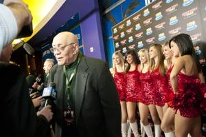 "UNLV coaching legend Jerry Tarkanian speaks to reporters at the world premiere of HBO's ""Runnin' Rebels of UNLV"" at Brenden Theaters at the Palms on Friday, Feb. 18, 2011."