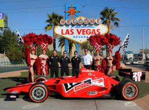 IndyCar racers at the Welcome to Fabulous Las Vegas sign on Feb. 22, 2011.