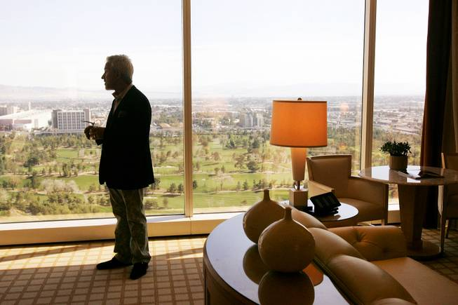 Wynn Design and Development Executive Vice President Roger Thomas leads a tour of the newly designed executive suite at Wynn Las Vegas Wednesday, February 23, 2011.