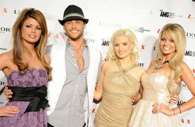 "Josh Strickland's debut performance of ""Report to the Floor"" at LAX in the Luxor, with Laura Croft, Holly Madison and Angel Porrino, on Feb. 23, 2011."