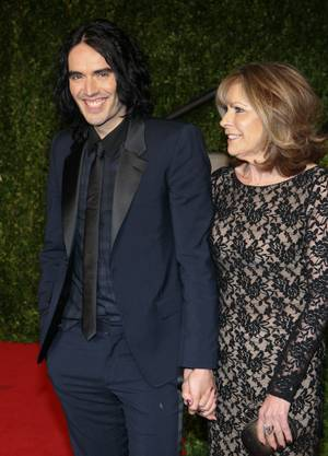 Russell Brand and his mother at the Vanity Fair Oscar Party at the Sunset Tower Hotel in L.A. on Feb. 27, 2011.