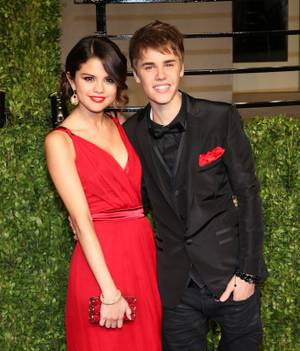 Selena Gomez and Justin Bieber at the Vanity Fair Oscar Party at the Sunset Tower Hotel in L.A. on Feb. 27, 2011.