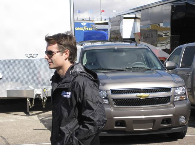 Race winner Jeff Gordon as he walked to the drivers' meeting before the race