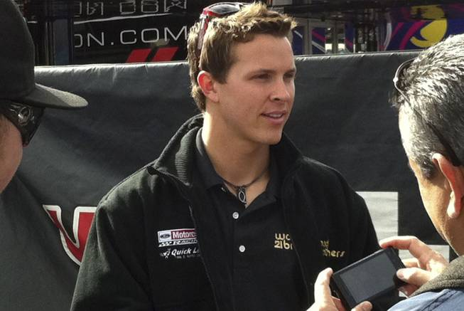 Trevor Bayne talking to fans