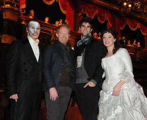 Anthony Crivello, Jesse Tyler Ferguson, a guest and Kristi Holden at <em>Phantom -- Las Vegas Spectacular</em> at The Venetian.