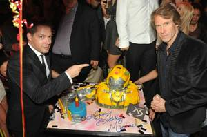 Michael Bay, right, with XS Managing Partner Jesse Waits, celebrates his birthday at XS at the Encore.