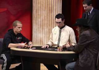 Peter Eastgate and Chris Ferguson at the 2011 NBC Heads-Up poker tournament on March 4, 2011.