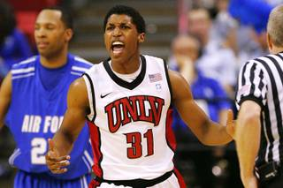 UNLV guard Justin Hawkins celebrates a play against Air Force during their Mountain West Conference Championship game Thursday, March 10, 2011 at the Thomas & Mack Center. UNLV won the game 69-53.
