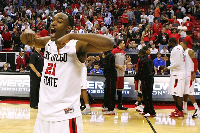 San Diego State guard Jamaal Franklin celebrates after their Mountain West Conference Championship game against UNLV Friday, March 11, 2011 at the Thomas & Mack Center. San Diego State won 74-72 and will play BYU in the finals on Saturday.