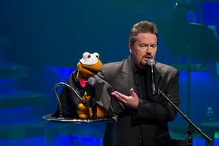 Terry Fator celebrates the second anniversary of his show at the Mirage on March 18, 2011.