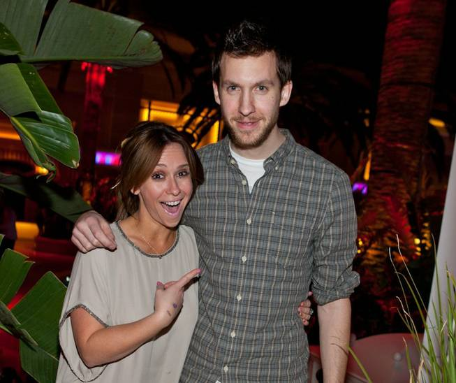 Jennifer Love Hewitt and DJ Calvin Harris at Surrender inside Encore at Wynn on March 19, 2011.