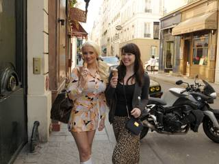 Holly Madison and Claire Sinclair in Paris, France, on March 23, 2011.