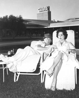 Michael Wilding and Elizabeth Taylor at the Sahara on March 7, 1956.