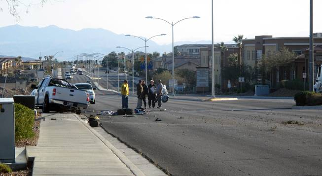 Henderson Police investigate an accident Thursday morning on Horizon Ridge Parkway near Valle Verde Drive.