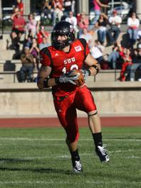 Coronado High graduate Tysson Poots looks for yardage after a catch during his college career at Southern Utah. Poots recently signed a free agent deal with the Baltimore Ravens.