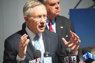 Sen. Harry Reid speaks about progress made on the DesertXpress high-speed rail project on Friday, March 25, 2011, at the UNLV Science and Engineering building.