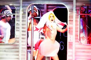 Lady Gaga performs her Monster Ball Tour at the MGM Grand Garden Arena Friday, March 25, 2011.