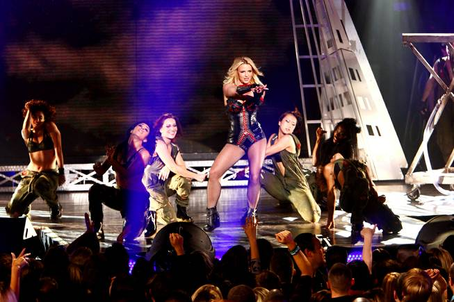 "Britney Spears performs ""Till the World Ends"" at Rain at the Palms on March 25, 2011."