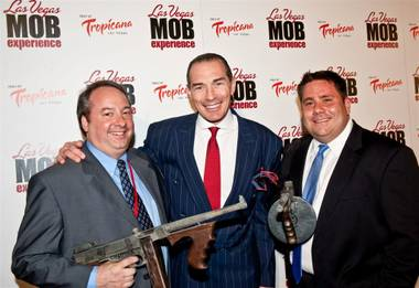 Jay Bloom, Tropicana owner Alex Yemenidjian and Louis Ventre at the Las Vegas Mob Experience VIP grand opening at the Tropicana on March 29, 2011.