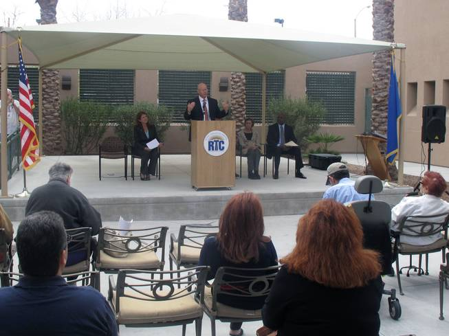 Jacob Snow, the general manager of the Regional Transportation Commission, speaks to Anthem residents about a new paratransit service that will be provided to the area as part of a program with Easter Seals and ITNLasVegasValley.