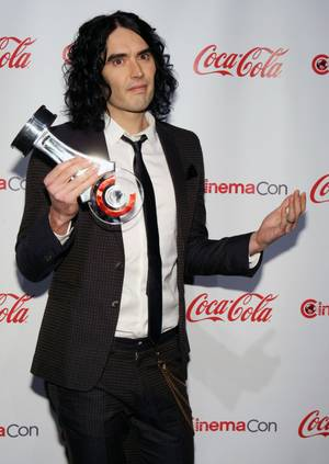 Russell Brand, CinemaCon Comedy Star of the Year, poses during CinemaCon, the official convention of the National Association of Theatre Owners, at Caesars Palace March 31, 2011.