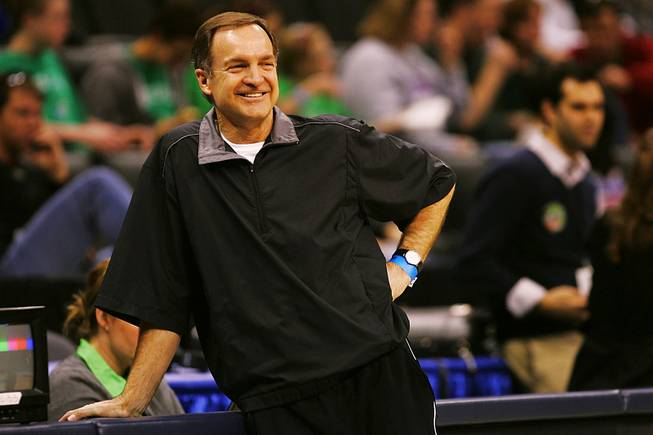 UNLV basketball coach Lon Kruger watches his team practice before their appearance in the Sweet 16 round of the NCAA tournament March 22, 2007 in St. Louis.