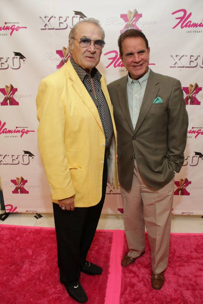 Steve Rossi and Rich Little at <em>X Burlesque</em>'s fourth anniversary at the Flamingo on April 7, 2011.