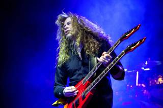 Singer and guitarist Dave Mustaine of the American trash metal band Megadeth performs during their concert in the Budapest Sports Arena in Budapest, Hungary, late Friday, April 8, 2011.