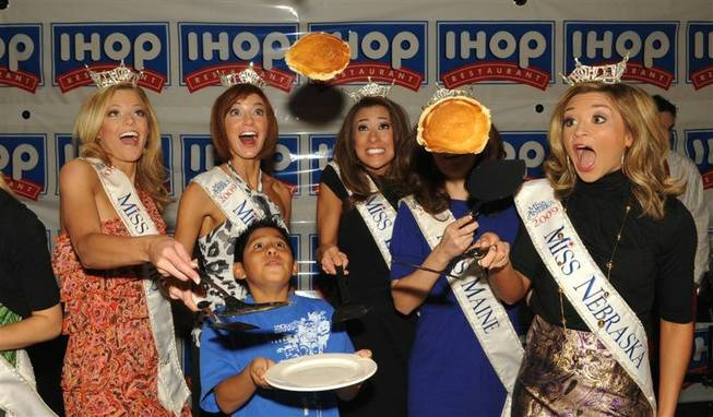 The 2010 Miss America Pageant's International House of Pancakes breakfast benefit for Children's Miracle Network at Planet Hollywood on Jan. 22, 2010. Miss Nevada Christina Keegan is second from left.