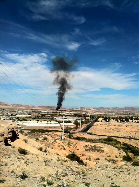 Smoke from a brush fire east of UNLV's Sam Boyd Stadium could be seen for miles Saturday afternoon throughout the Las Vegas Valley. Clark County Fire Department officials said no buildings were in any danger from the blaze