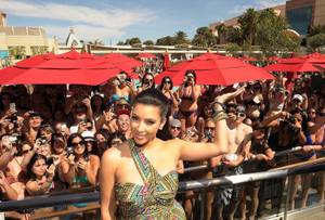 4/16/11: Kim Kardashian at Wet Republic