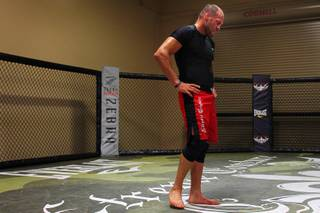 Randy Couture catches his breath after a workout Thursday, April 21, 2011 in preparation for what he says will be his final fight April 30 at UFC 129.