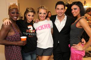 "Lined up, backstage, at ""Broadway Bares"": Kaci Wilson Jackson, Paula Caselton, Jen Cloer, Travis Cloer, Michelle DiTerlizzi. The ladies are from ""Peepshow."" Travis Cloer plays Frankie Valli in ""Jersey Boys."""